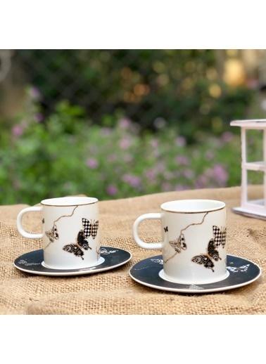 Acar Kelebek Desenli Siyah Kahve Fincan Takımı 6 Kişilik Renkli